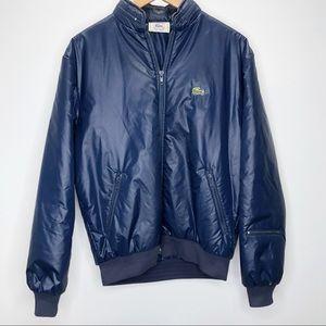VTG Izod Lacoste Blue Bomber Full Zip Jacket Sz M